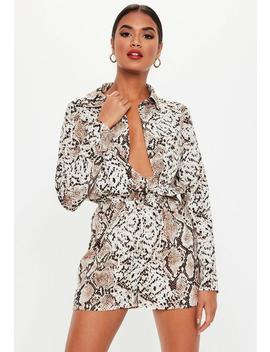 Petite Brown Snakeprint Long Sleeve Utility Playsuit by Missguided