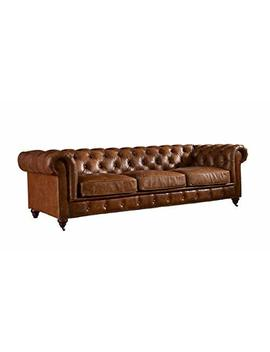 Crafters And Weavers Top Grain Vintage Leather Chesterfield Sofa by Crafters And Weavers