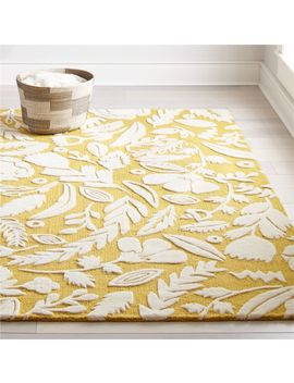 Yellow Floral 8x10' Rug by Crate&Barrel