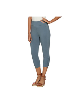 Logo By Lori Goldstein Capri Leggings With Ruching Details by Qvc