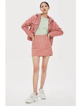Petite Corduroy Zip Skirt by Topshop