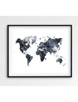 World Map Watercolor Print, World Map Poster Watercolor Grey Black And White, Modern Wall Art, Home Office Decor, Travel Art, Printable Art by Etsy
