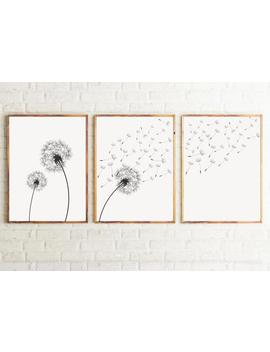 Set Of 3 Dandelion Prints, Black And White Minimalist Prints, Instant Download, Dandelion Printable Wall Art, Modern Wall Art. #12 by Etsy