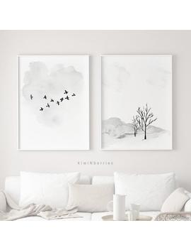 Minimalist Watercolor Art Prints, Winter Decor, Printable Wall Art, Monochrome Prints, Simple Minimal, Flock Of Birds Print, Branch Trees by Etsy