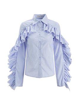 Aomei Long Sleeve Blue Stripe Ruffles Trim Cotton Blouse Shirts For Women by Aomei