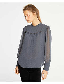 Clip Dot Ruffle Yoke Blouse by Ann Taylor