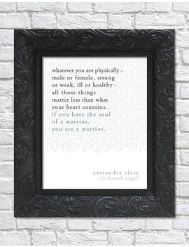 Literary Art Print / Book Quote // The Infernal Devices, Book 1: Clockwork Angel; Cassandra Clare / Unframed by Etsy