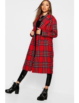 Tartan Check Oversize Wool Look Coat by Boohoo