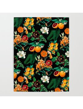 Fruit And Floral Pattern Poster by
