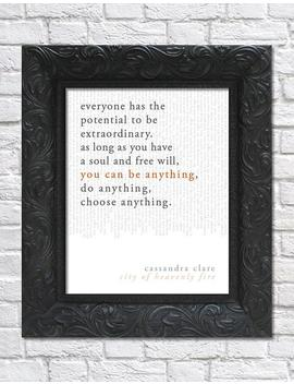 Literary Art Print / Book Quote // The Mortal Instruments, Book 6: City Of Heavenly Fire; Cassandra Clare / Unframed by Etsy