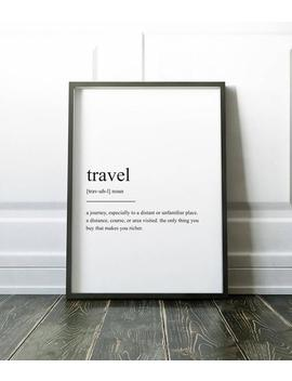 Travel Definition Print, Wall Art Prints, Quote Print, Wall Decor, Minimalist Poster, Minimalist Print, Modern Art, Travel Print, Definition by Etsy
