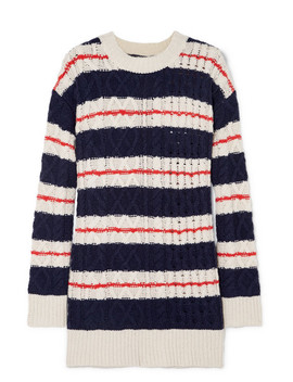 Gabby Striped Cable Knit Merino Wool Blend Sweater by J.Crew