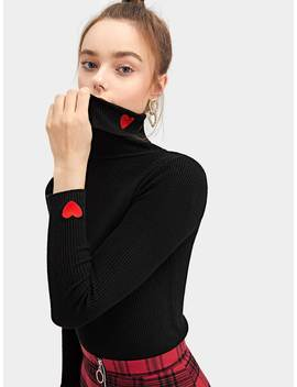 Heart Detail High Neck Ribbed Jumper by Romwe