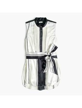 Collection Tuxedo Front Silk Tunic In Stripe by J.Crew