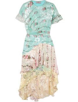Paula Asymmetric Printed Devoré Silk Blend Organza Dress by Preen By Thornton Bregazzi