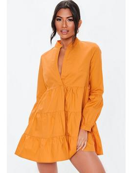 Mustard Grandad Collar Smock Dress by Missguided