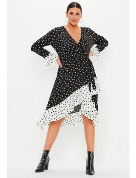 Plus Size Black Polka Dot Ruffle Wrap Dress by Missguided