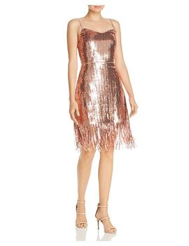 Sequined Fringe Sheath Dress by Laundry By Shelli Segal