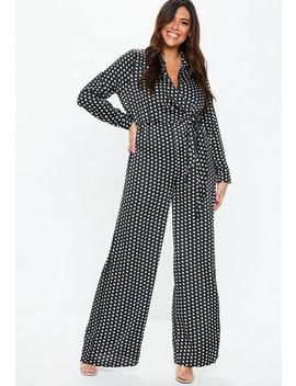 Plus Size Black Polka Dot Wrap Jumpsuit by Missguided
