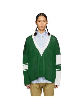 Green & White School Knit Sweater by Sulvam