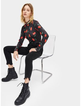 Fruit Print Stand Collar Tee by Romwe