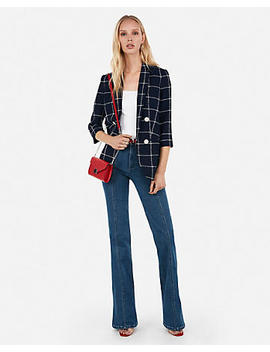 Windowpane Print Double Breasted Boyfriend Jacket by Express