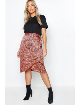 Plus Satin Leopard Print Wrap Midi Skirt by Boohoo