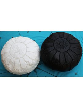 Set Of 2 Moroccan White And Black Poufs, Moroccan Leather Poufs Footstools,Leather Authentic Genuine Pouf Handcraft. by Etsy