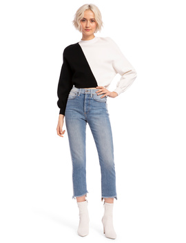 Elyse Cropped Asymmetrical Pullover by Alice And Olivia