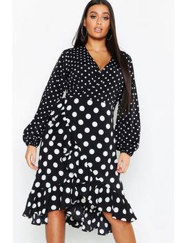 Plus Polka Dot Ruffle Wrap Midi Dress by Boohoo