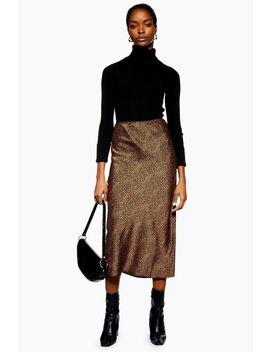 Petite Spot Animal Satin Bias Midi Skirt by Topshop