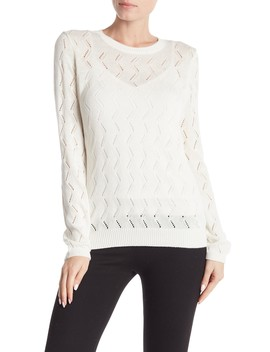 Pointelle Crew Neck Sweater (Regular & Petite) by 14th & Union