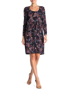 Paisley Mini Long Sleeve Pleated Dress (Plus Size Available) by 24/7 Comfort