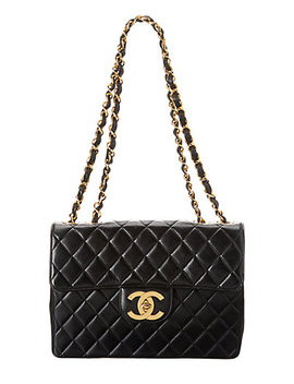 Chanel Black Quilted Lambskin Leather Jumbo Half Flap Bag by Chanel