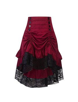 Crazycatz Women's Vintage Steampunk Victorian Goth Lace Party Skirt Front Button Low High Skirt by Crazycatz