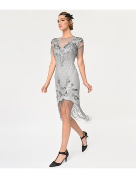 Frock And Frill Grey Beaded Fringe Cap Sleeve Cyra Flapper Dress by Unique Vintage
