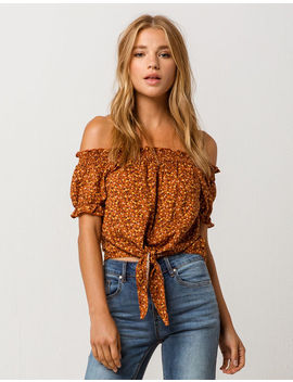 Mimi Chica Ditsy Floral Womens Off The Shoulder Top by Mimi Chica