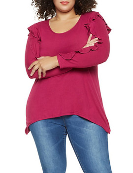 Plus Size Ruffled Long Sleeve Top by Rainbow