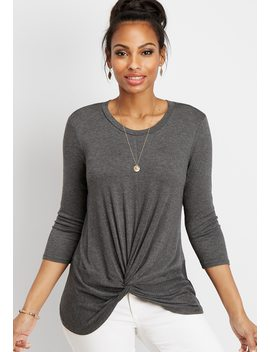 Chiffon Pieced Knot Front Top by Maurices