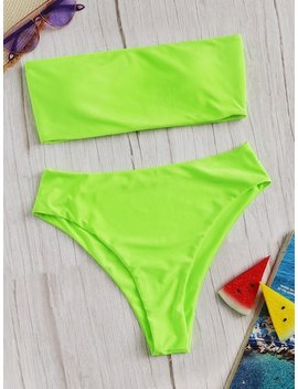 Neon Lime Bandeau With High Waist Bikini by Sheinside