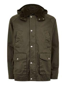Khaki Faux Fur Lined Jacket by Topman