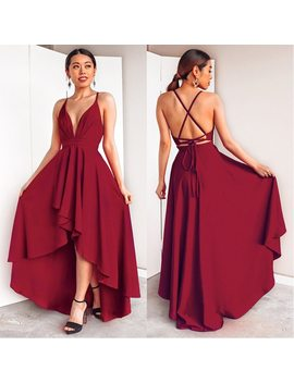 Sexy Deep V Neck Prom Dresses 2018 Criss Cross Backless High/Low Banquet Party Gown Ladies Bandage Asymmetrical Vestido De Festa by Ever Pretty