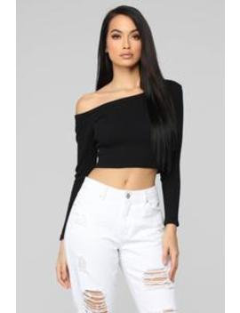 Moments After One Shoulder Top   Black by Fashion Nova