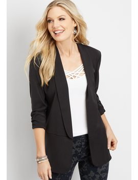 Black Long Open Front Blazer by Maurices