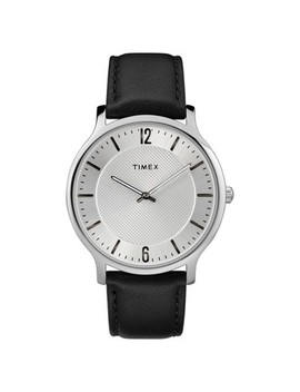 Men's Timex Metropolitan Watch With Leather Strap   Silver/Black by Timex