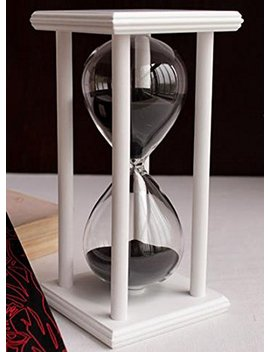 60 Minutes Hourglass Timer Creative Gifts Room Decor Hourglass (White Frame Black Sand) by Zhenni3