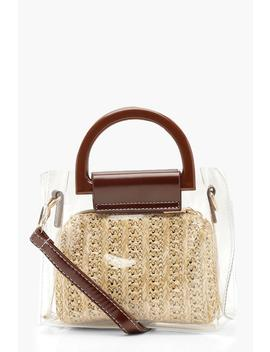 Straw Insert Perspex Bag by Boohoo