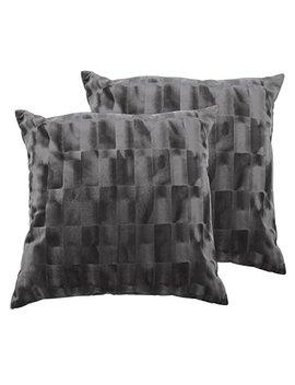"Zavaro Home Luxurious Elegant Shiny Velvet Decorative Sofa Bed Throw Patio Car Pillow Cover Set Of 2 (18"" X 18"") Cover Only (Charcoal Silver Gray) by Zavaro Home"
