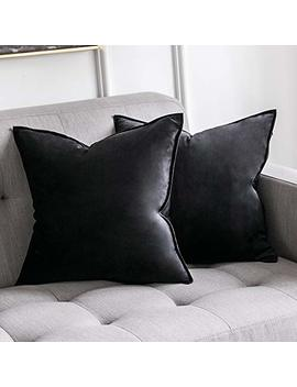 Miulee Pack Of 2 Decorative Velvet Throw Pillow Cover Soft Black Pillow Cover Soild Square Cushion Case For Sofa Bedroom Car 18x 18 Inch 45x 45cm by Miulee
