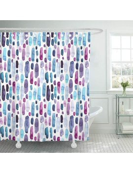 Pknmt Colorful Abstract Of Watercolor Blue Deep Violet And Pink Splashes Purple Blot Brush Waterproof Bathroom Shower Curtains Set 66x72 Inch by Pknmt